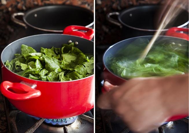בלי שמן, בלי מלח. תרד מתבשל. צילום: אסף אמברם