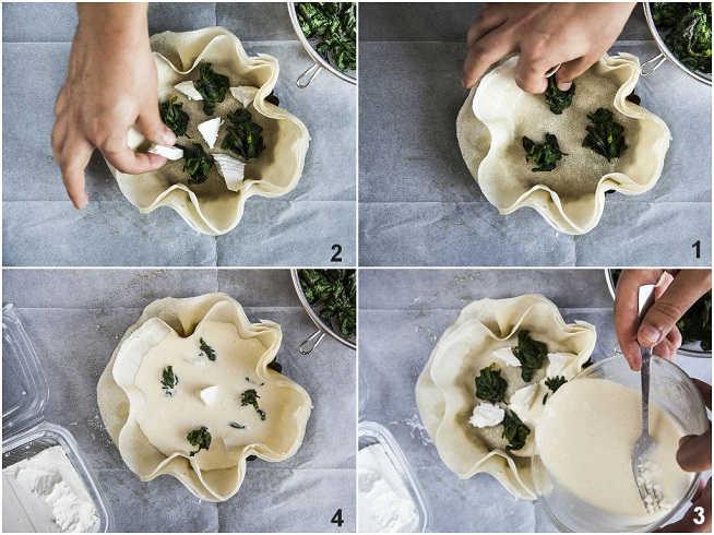 מניחים את התרד, פיסות גבינת פטה ומעל מוזגים את הרויאל. צילום: אסף אמברם
