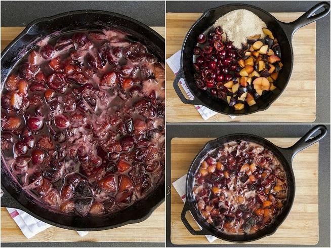 מבשלים את הפירות עם סוכר ומים, עד שהם מתחילים להתפרק והתערובת מסמיכה. צילום: אסף אמברם
