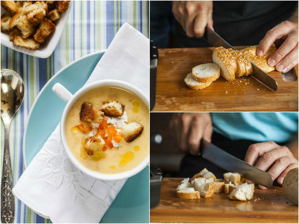 את הלחם חותכים לקוביות ומטגנים להזהבה, ומגישים עם המרק המוכן. צילום: אסף אמברם