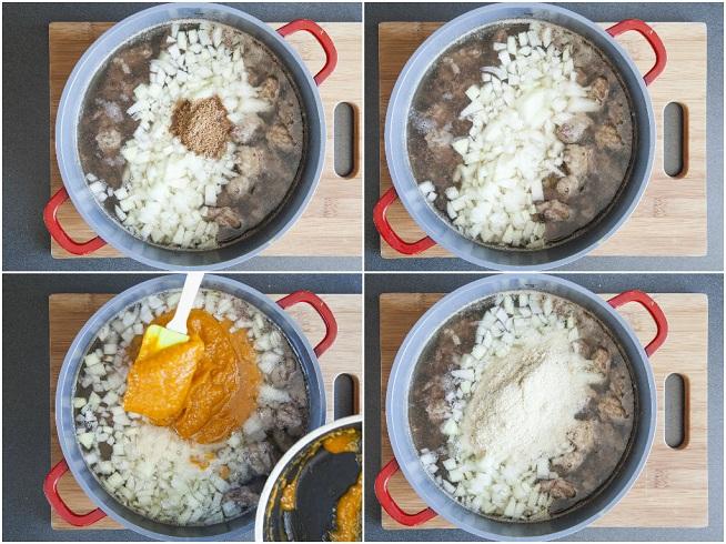 אחרי שהבשר רותח ומסירים את הקצף מוסיפים את שאר המצרכים: בצל, תבלינים, שקדים טחונים ופירה משמשים. צילום: אסף אמברם