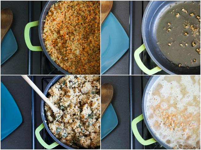 מטגנים את התבלינים ואז את העדשים והבורגולף מוסיפים מים ועלי גפן, מרתיחים ומבשלים עד שמוכן. צילום: אסף אמברם