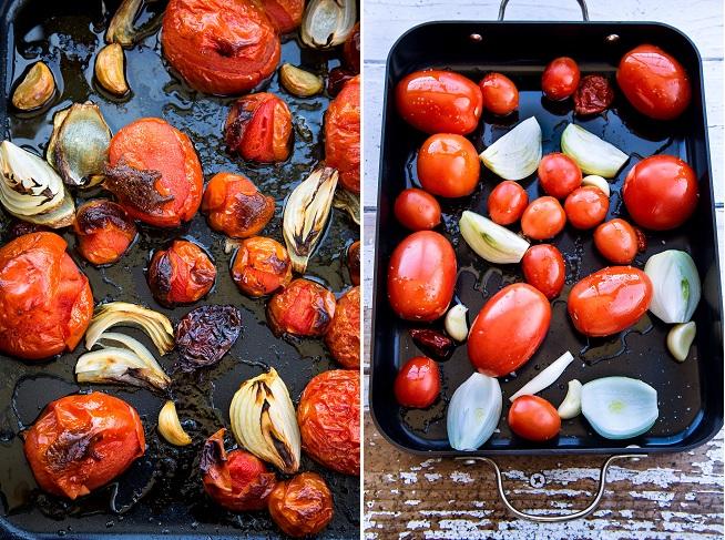 עגבניות, בצל שום ופלפלים רגע לפני הצלייה, ורגע אחרי. ברגע שעשיתם את זה נשאר רק לטחון. צילום: שרית גופן