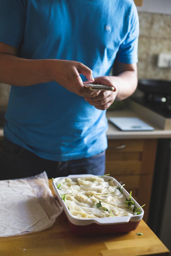 בניצה פילו במילוי תרד וגבינות
